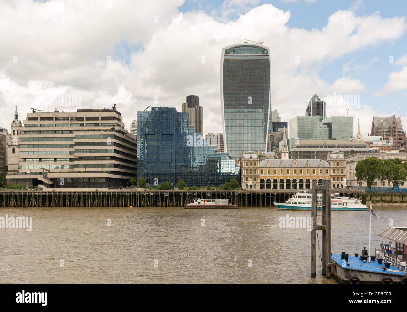 City Of London Skyline On The Thames North Bank Stock
