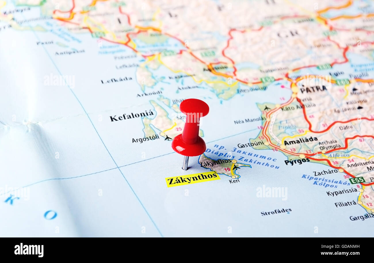 Close up of zakynthos island greece map with red pin travel close up of zakynthos island greece map with red pin travel concept gumiabroncs Image collections