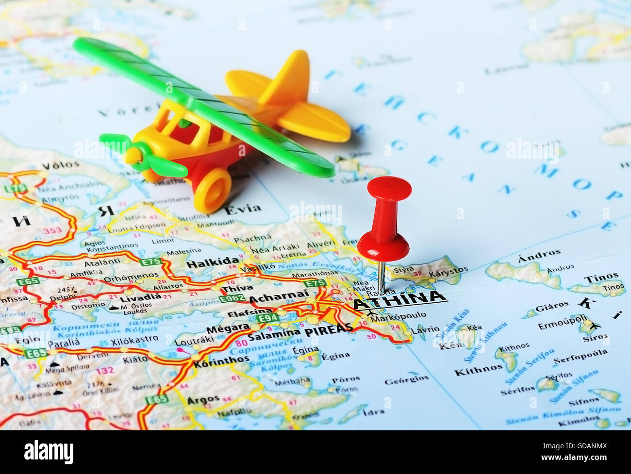 Close up of athens greece map with red pin and airplane toy stock close up of athens greece map with red pin and airplane toy travel concept gumiabroncs Image collections