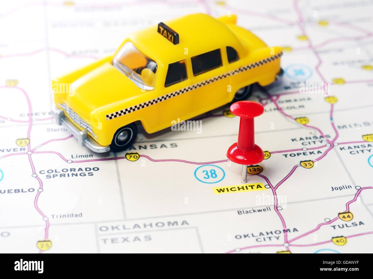 Close Up Of Wichita Kansas Usa Map With Red Pin And Taxi Car Stock Wichita