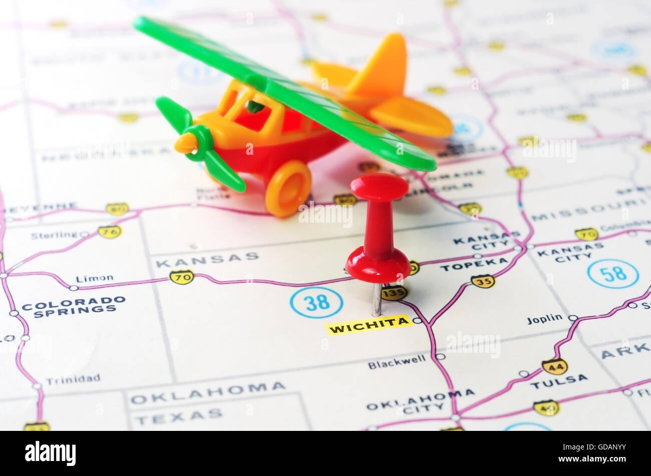 Close Up Of Wichita Kansas Usa Map With Red Pin And Airplane Toy Wichita Usa