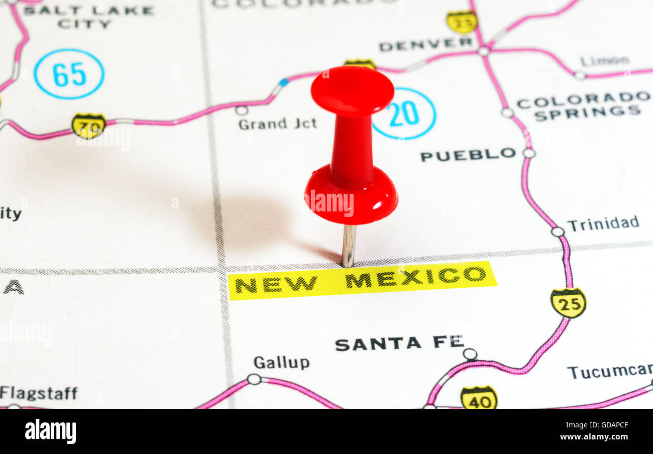 Close up of New Mexico state USA map with red pin Travel concept
