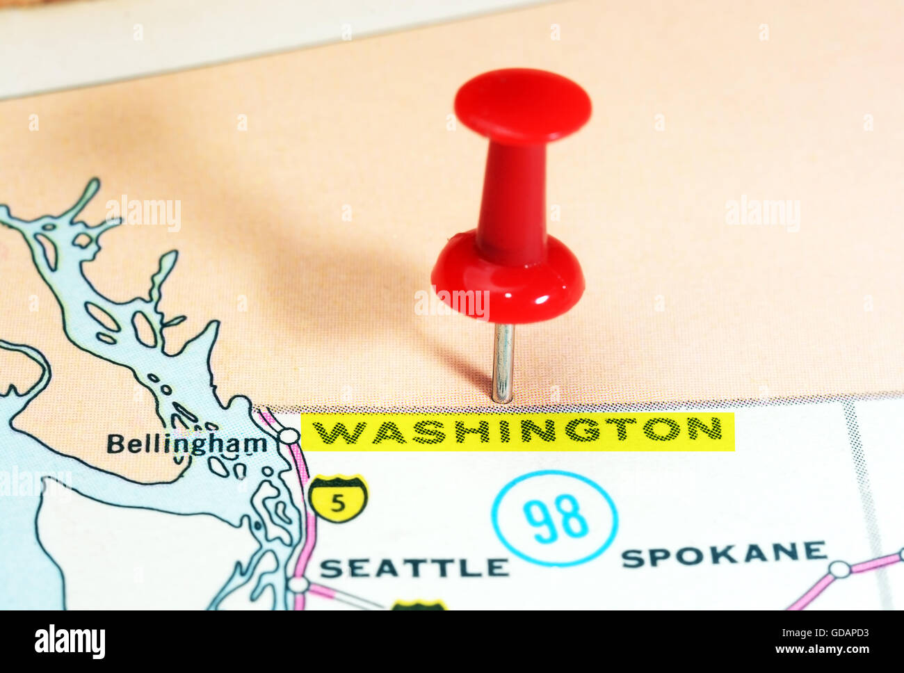 Close Up Of Washington State USA Map With Red Pin Travel Stock - Washington state in usa map