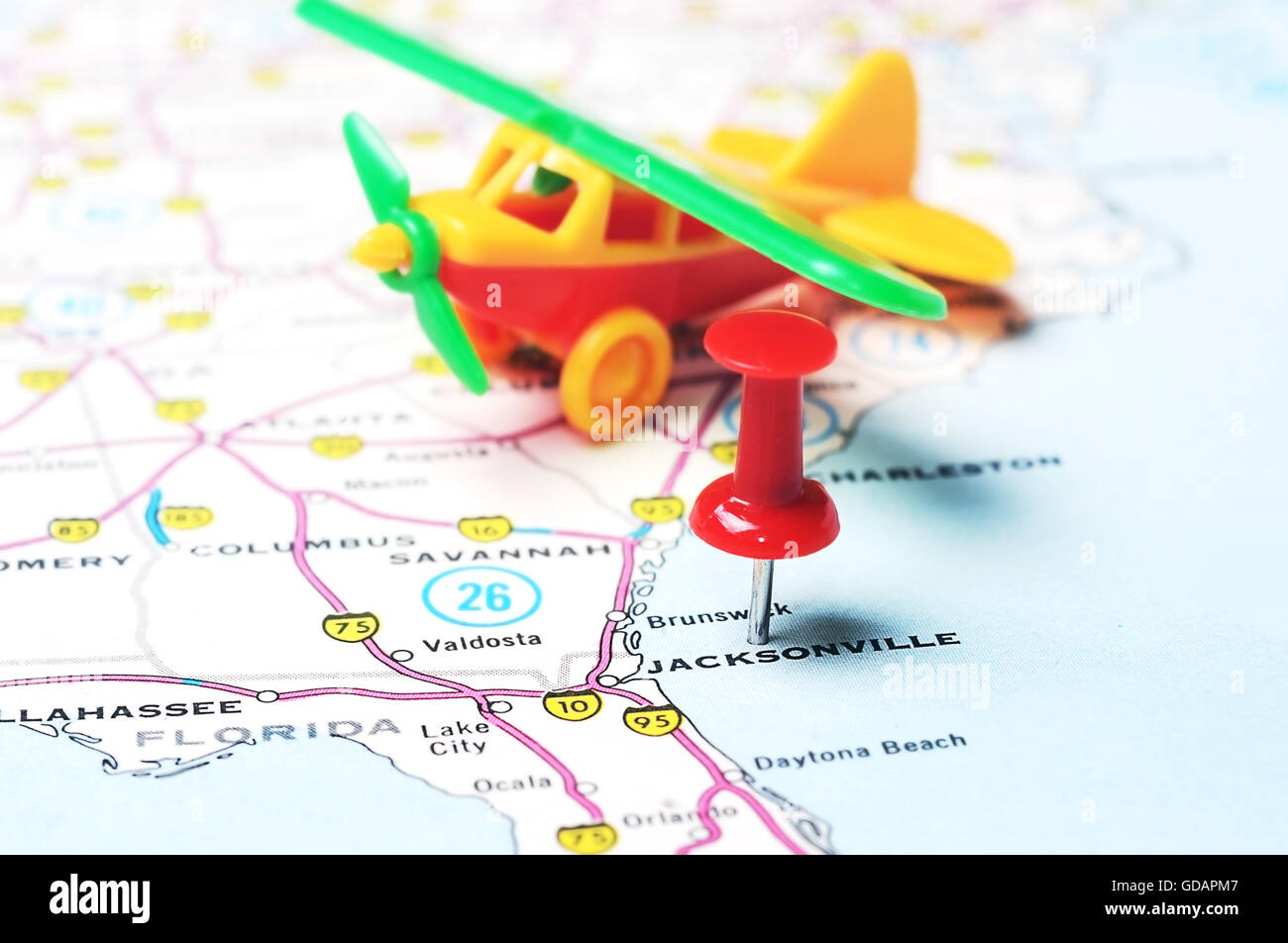 Close Up Of Jacksonville Florida Usa Map With Red Pin And Airplane Toy Travel Concept