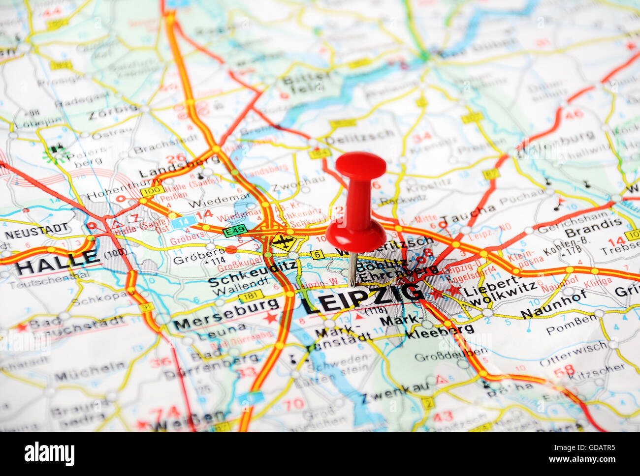 Close up of LeipzigGermany map with red pin Travel concept Stock