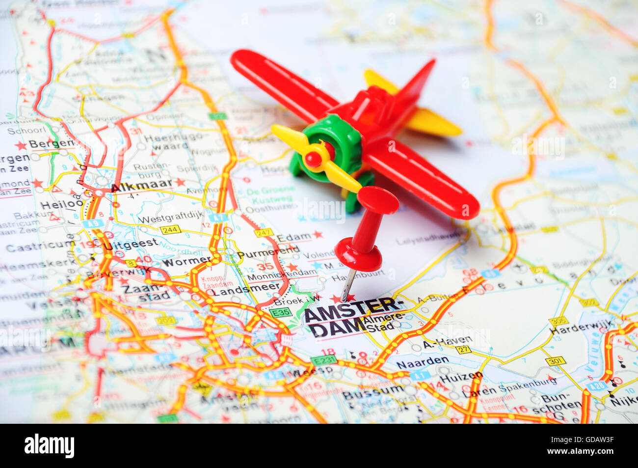 Edam Netherlands Map%0A Close up of Amsterdam   Netherlands map with red pin and airplane  Travel  concept