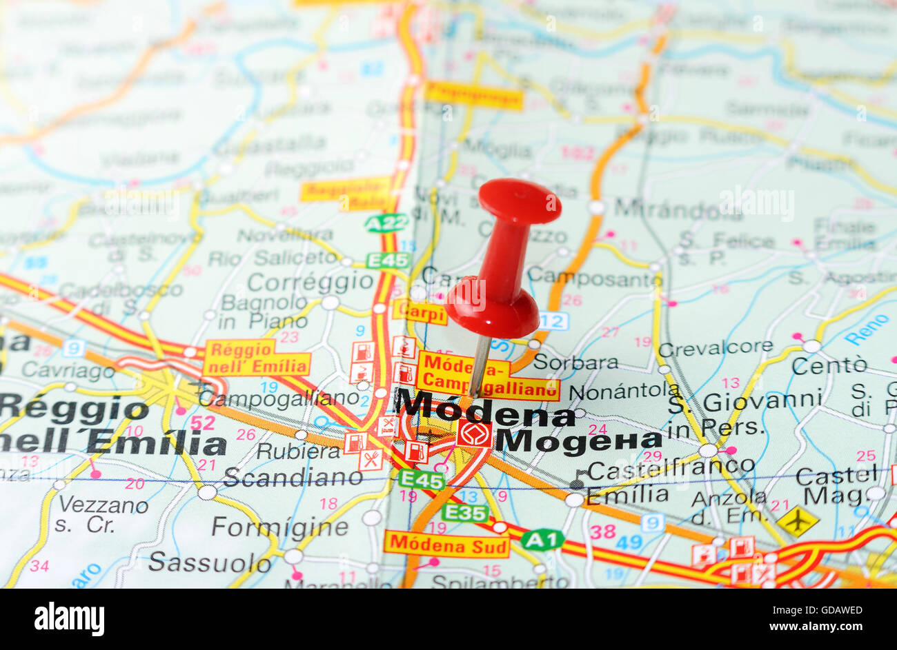 Close up of Modena Italy map with red pin Travel concept Stock