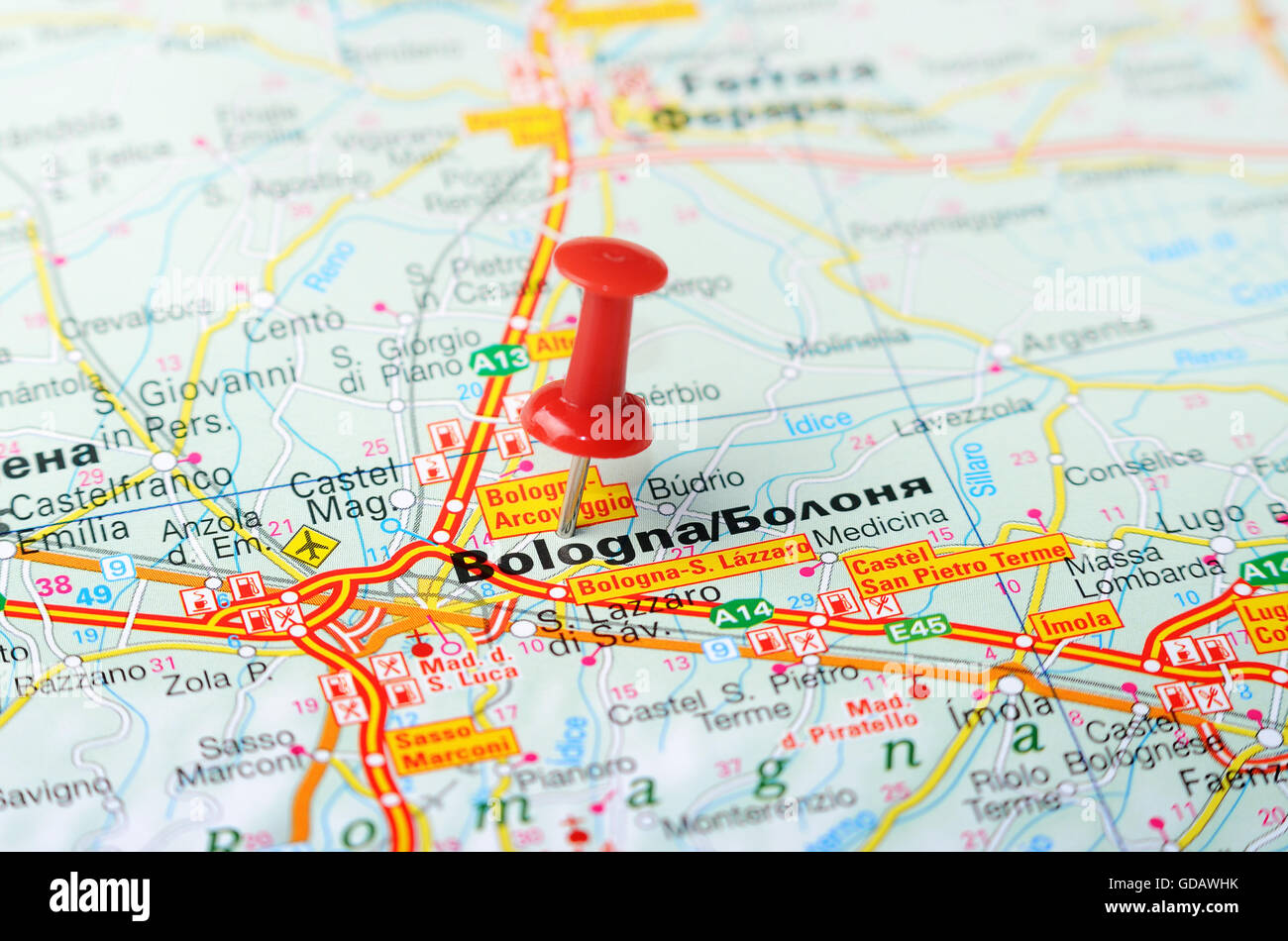Close up of Bologna Italy map with red pin Travel concept Stock