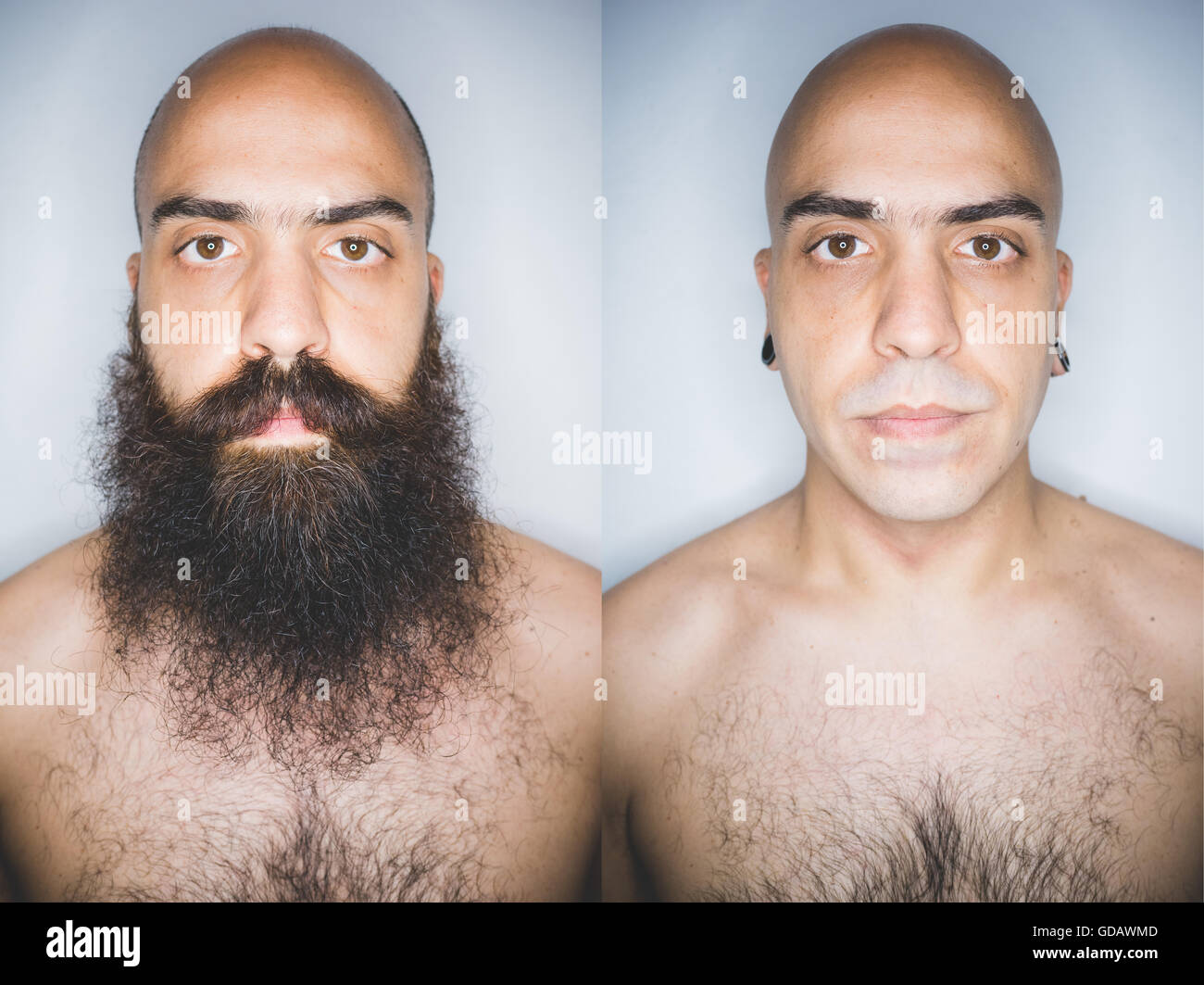 Before and after shaved