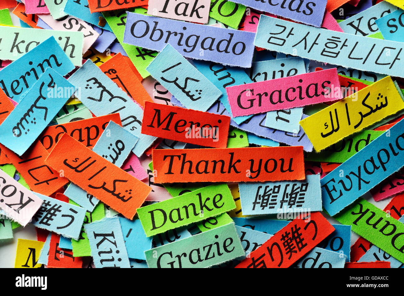 Thank You Word Cloud printed on colorful paper different languages Stock Photo, Royalty Free ...