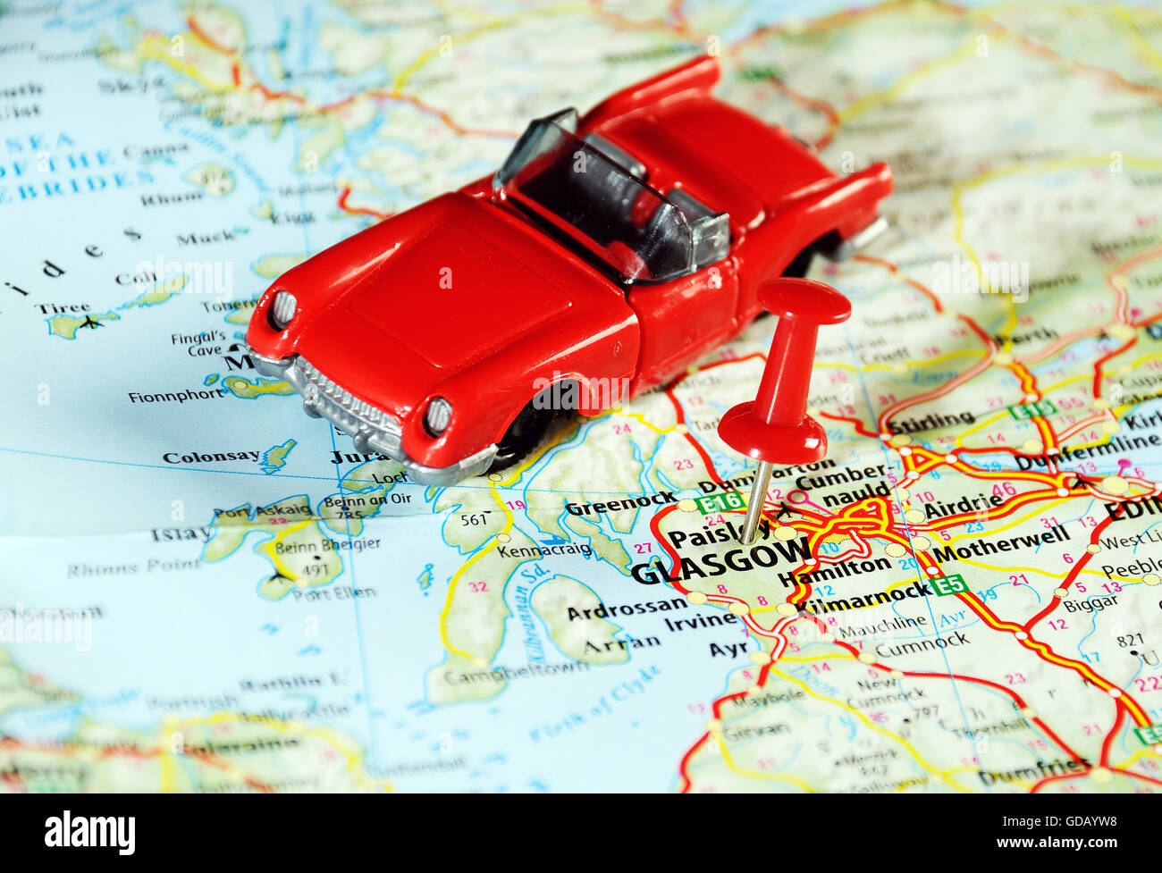 Glasgow Scotland United Kingdom map car and pin  Travel concept