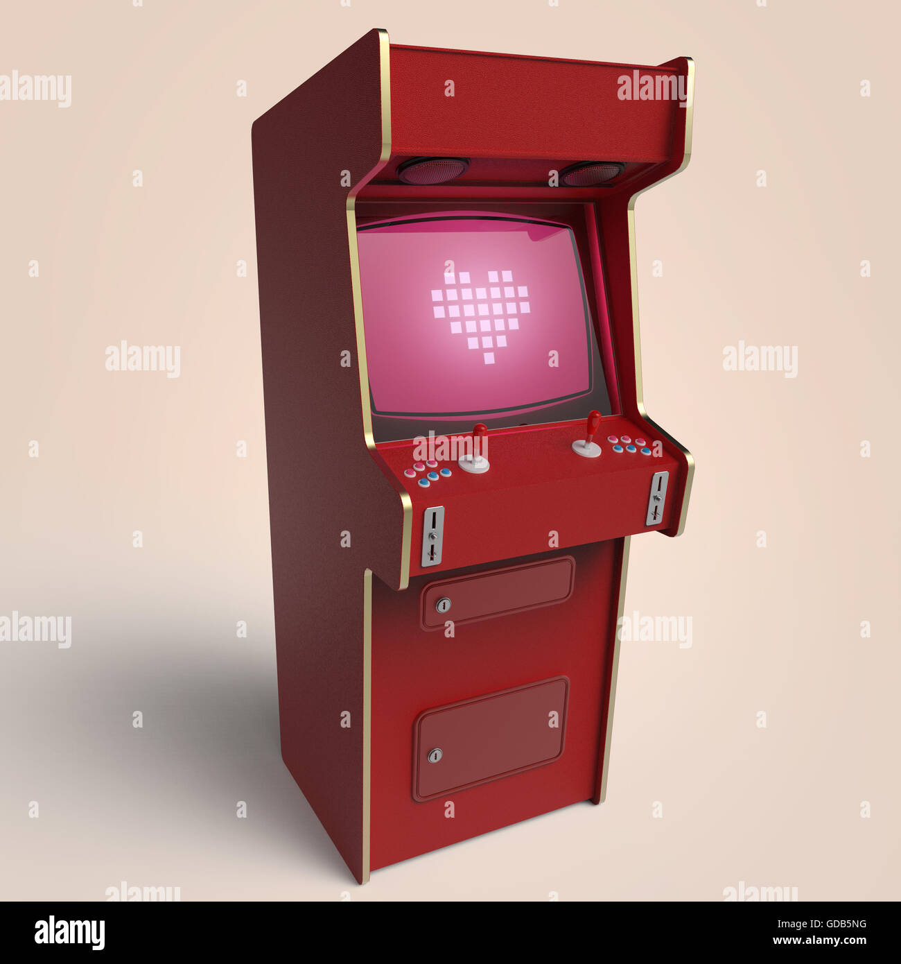 vintage arcade game machine cabinet with pixel heart icon colorful ...