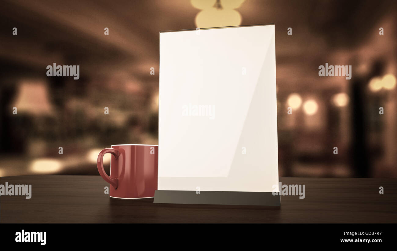 Stand for booklets white sheets of paper acrylic table tent card mockup on wooden with cup coffee blurred background render & Stand for booklets white sheets of paper acrylic table tent card ...