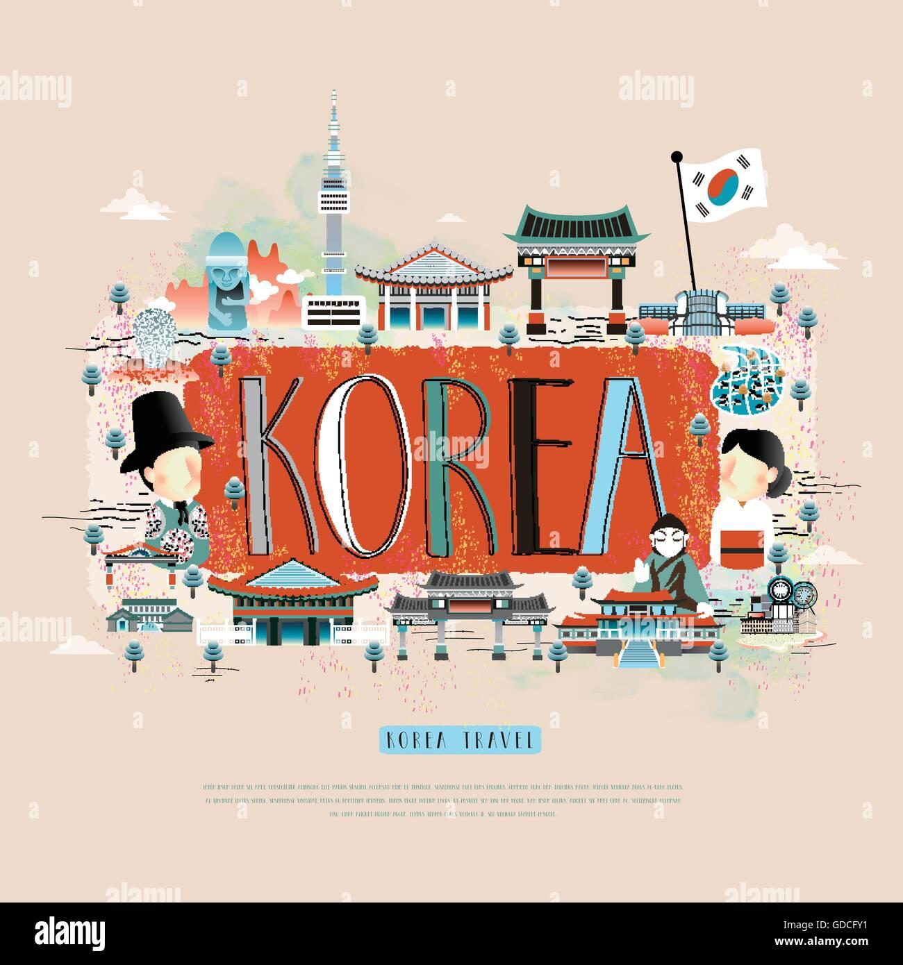 Korean poster design - Stock Vector Moder Korean Travel Poster Design With Attractions