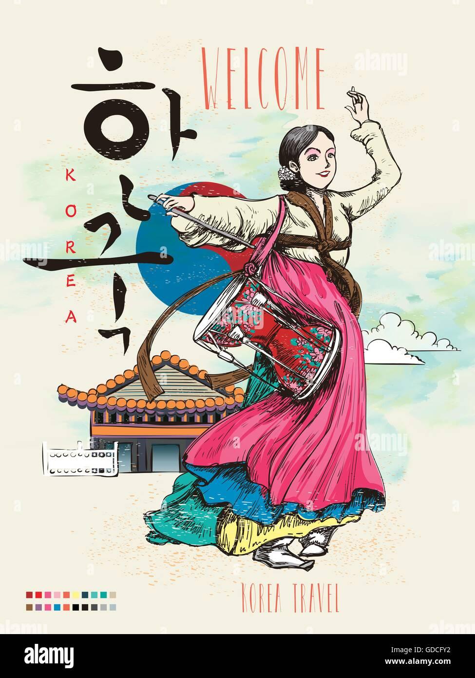 Korean poster design - Korean Poster Design Korea Poster With Traditional Janggo Dance Korea Written In Korean Words Stock