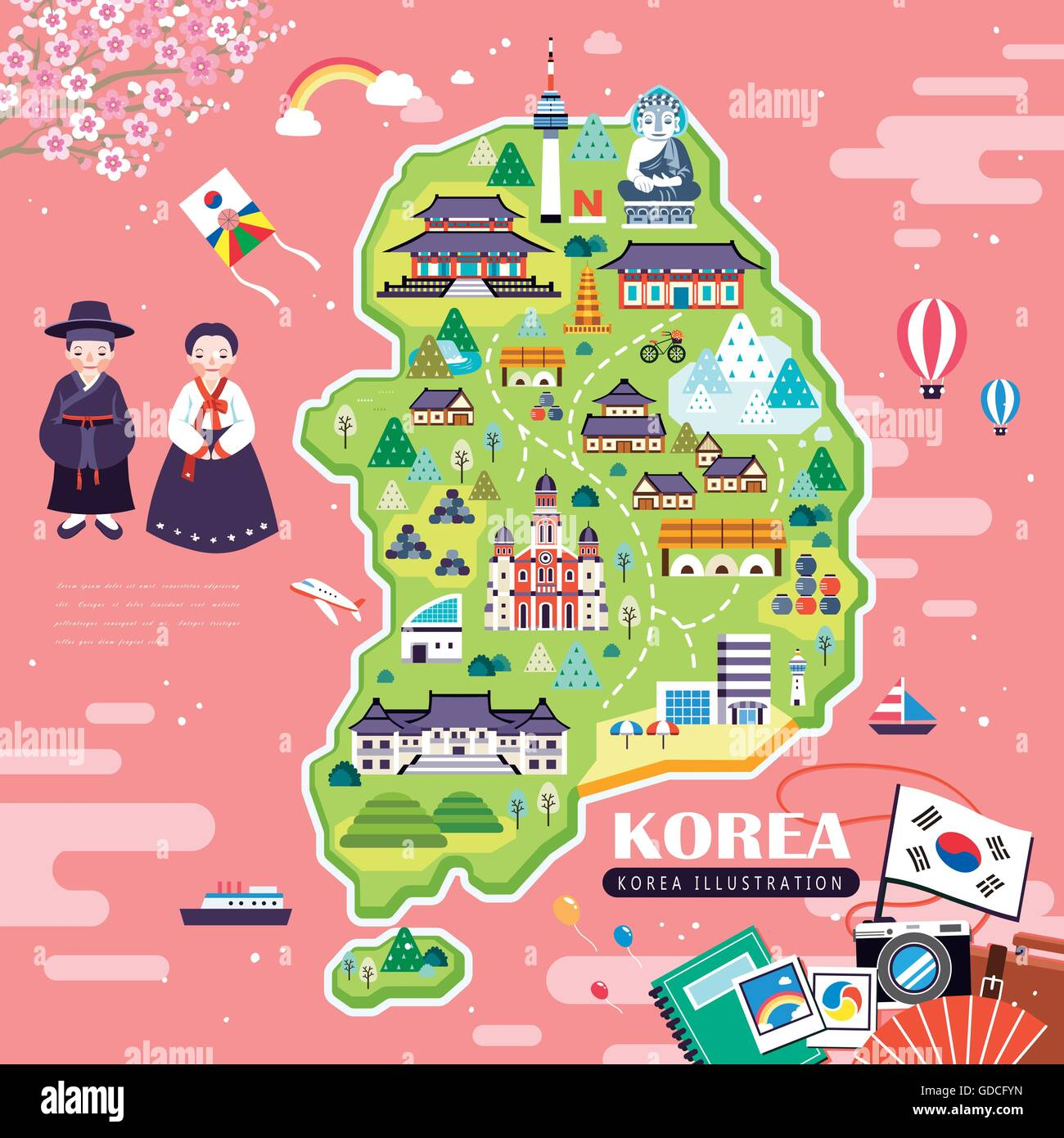 Lovely korea travel map design with attractions over pink ocean lovely korea travel map design with attractions over pink ocean gumiabroncs Image collections
