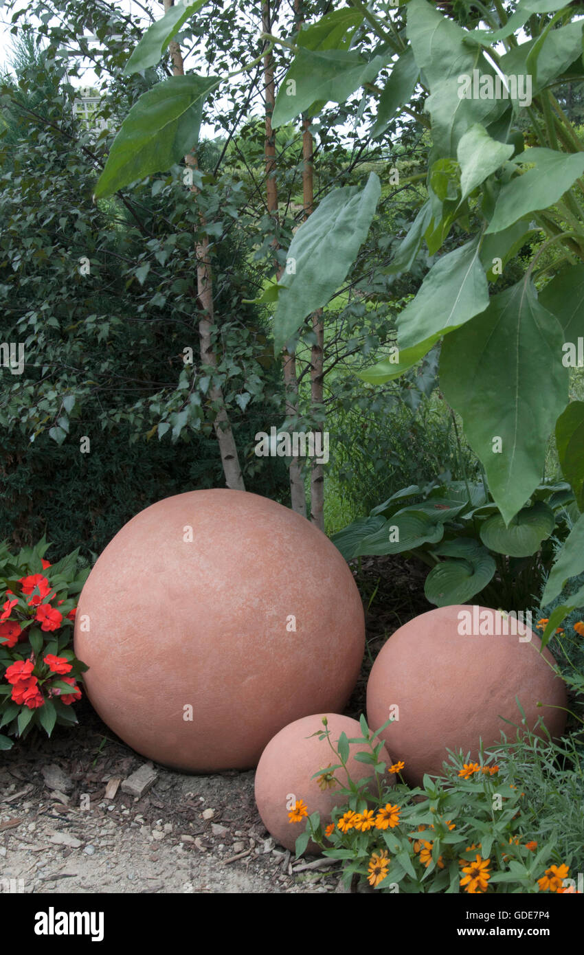 Stock Photo   Three Concrete Balls, Garden Ornamental
