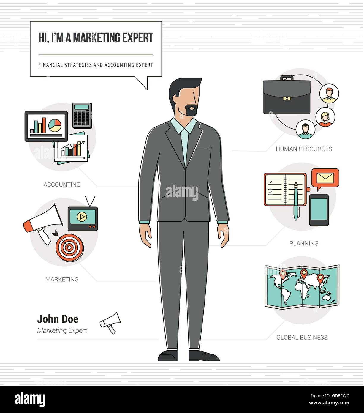 Professional marketing expert infographic skills resume with work ...
