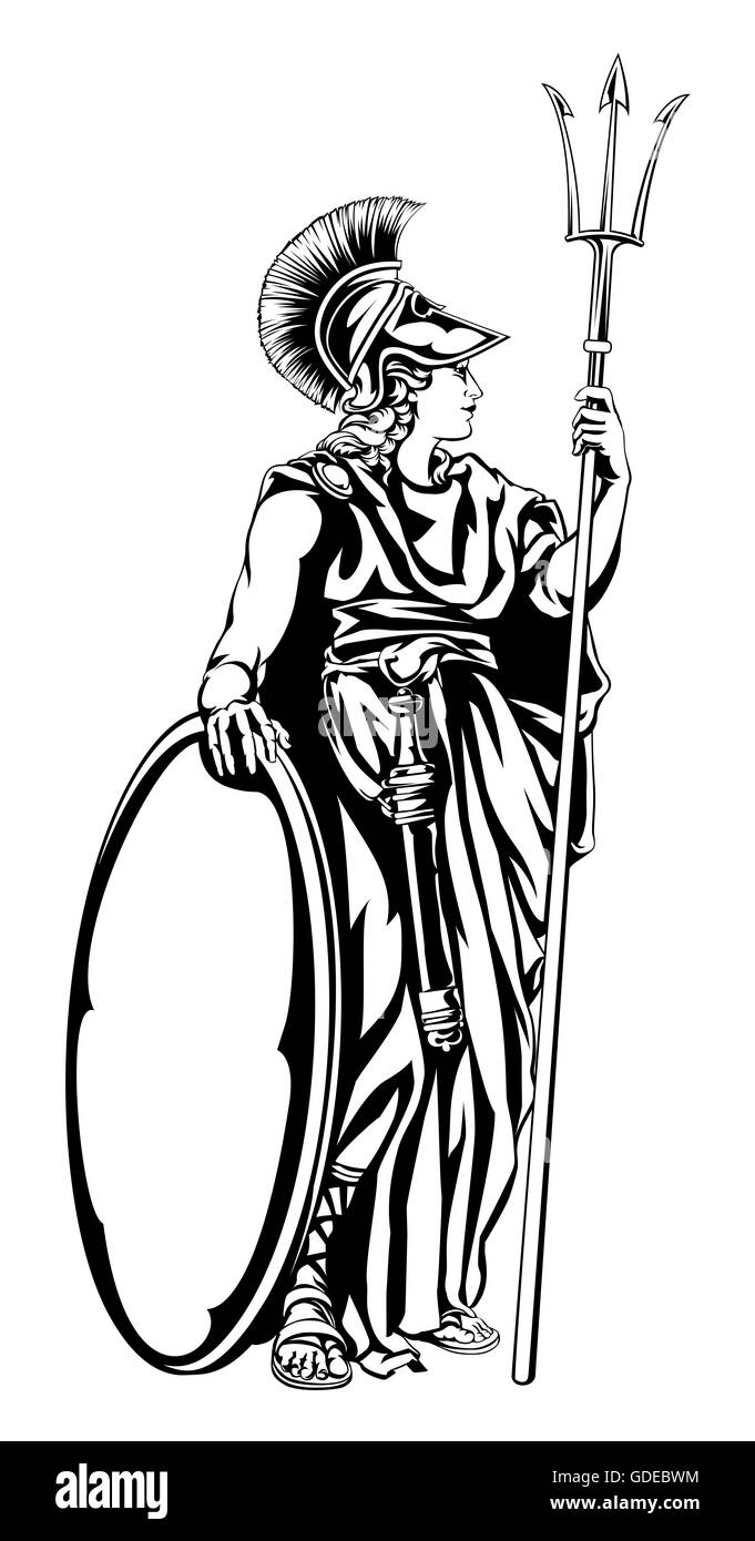 An illustration of the mythological greek goddess athena with a an illustration of the mythological greek goddess athena with a trident spear and shield biocorpaavc