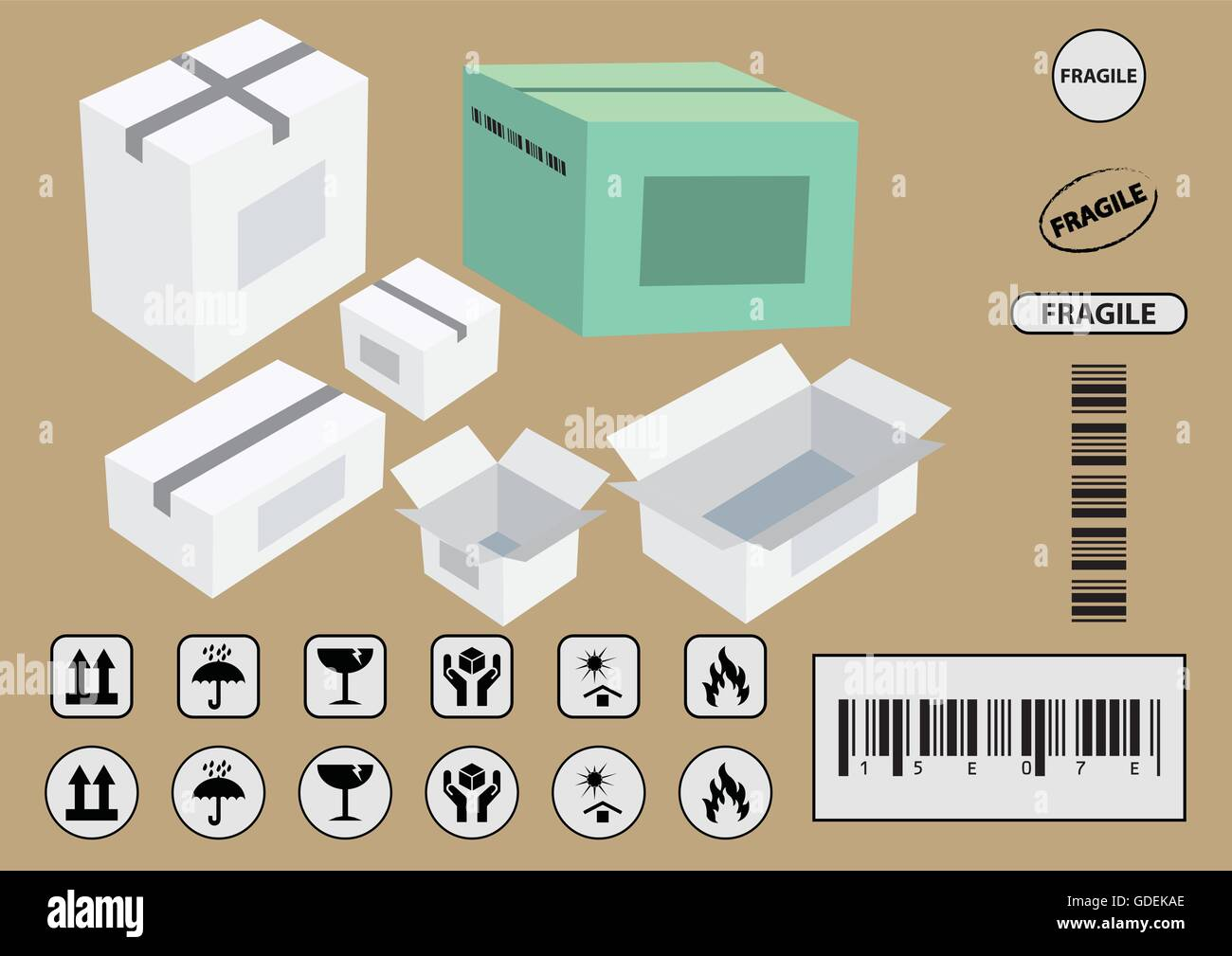 Set of packaging symbols this side up handle with care fragile set of packaging symbols this side up handle with care fragile keep dry keep away from direct sunlight flammable bar code recyclable vector buycottarizona
