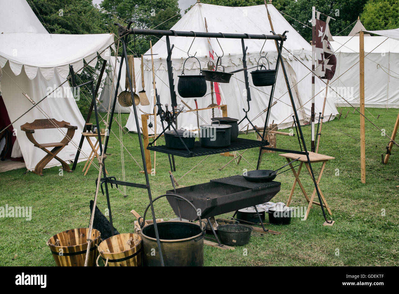 Outside kitchen and enc&ment at the Tewkesbury medieval festival 2016 Gloucestershire England. Vintage filter applied & Outside kitchen and encampment at the Tewkesbury medieval festival ...