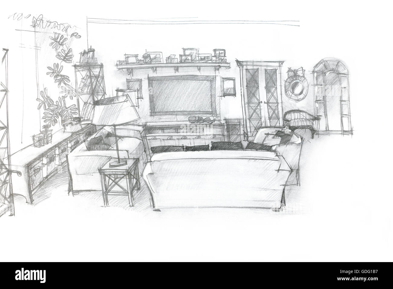 Freehand sketch perspective architectural drawing of for Living room interior sketch