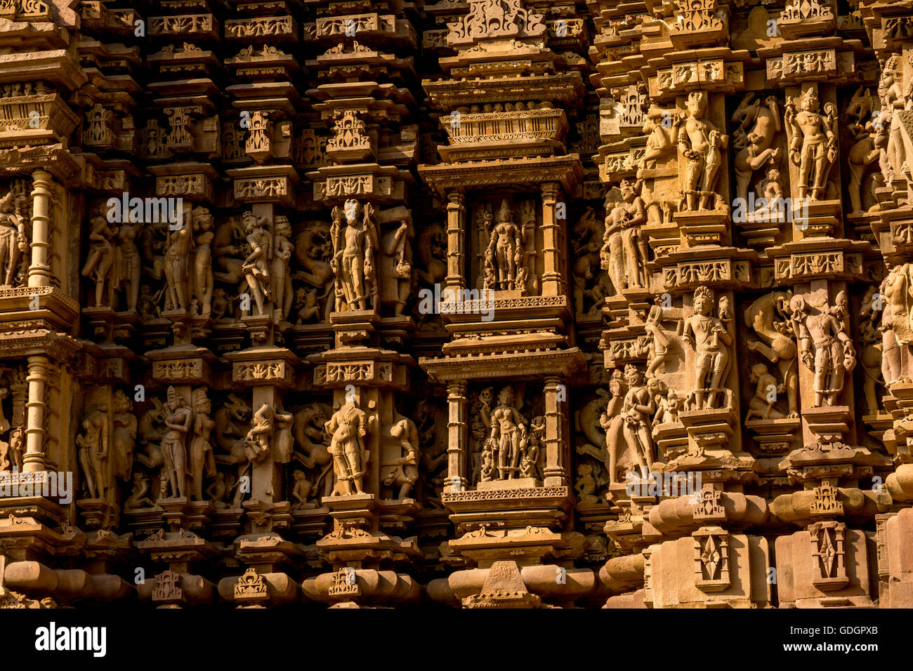 Intricate stone sculpture detail of a temple khajuraho