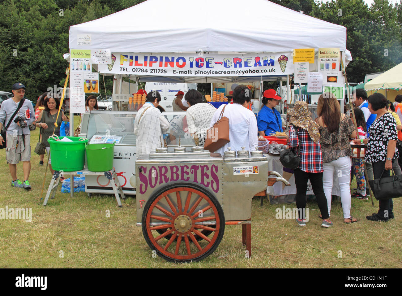 stock photo traditional ice cream cart and stall barrio fiesta sa london 2016 16th and 17th july 2016 apps court farm hurst road walton on thames - Traditional Canopy 2016