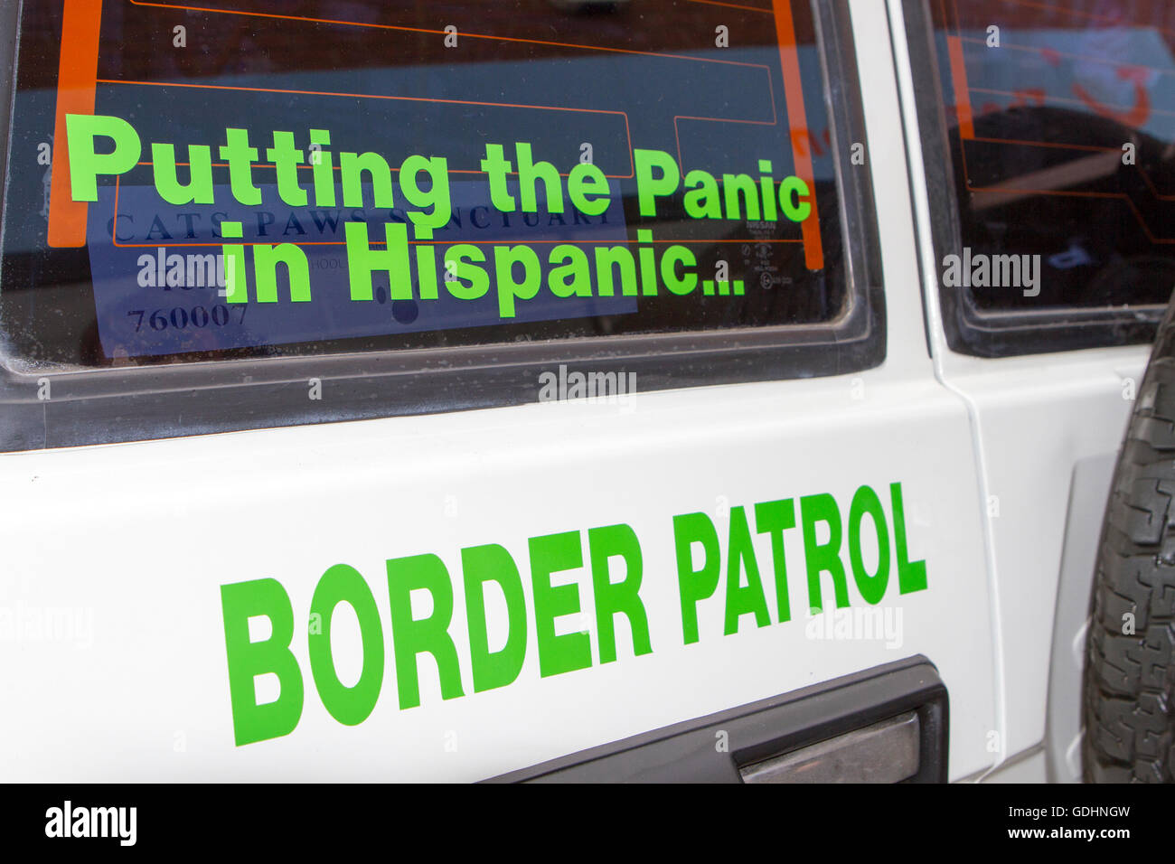 Funny Writing On U.S. Border Patrol Imitation Vehicle At Fleetwood Tram  Day, Lancashire, UK