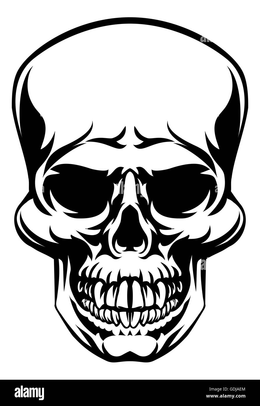 a skull scary skull design drawing stock photo royalty