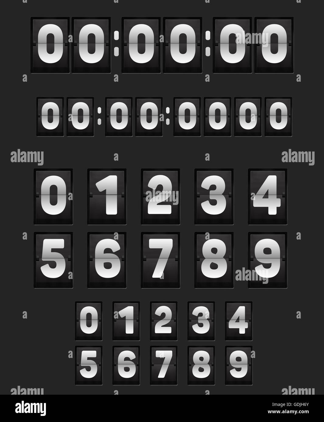 Wall flipping clock like airports panels or alarm or countdown wall flipping clock like airports panels or alarm or countdown timer and set of flip narrow scoreboard numbers 3d illustration amipublicfo Choice Image