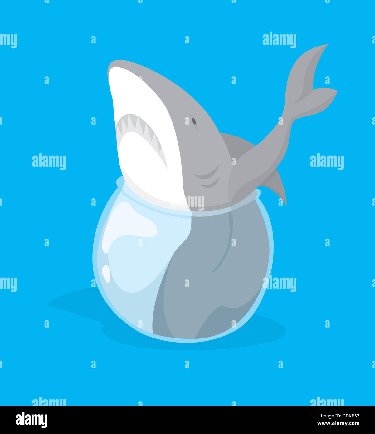 funny cartoon illustration of big fish or shark stuck in small