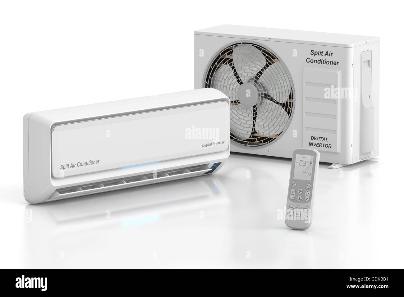 Modern Air Conditioner System With Unit And Remote Control, 3D Rendering  Isolated On White Background