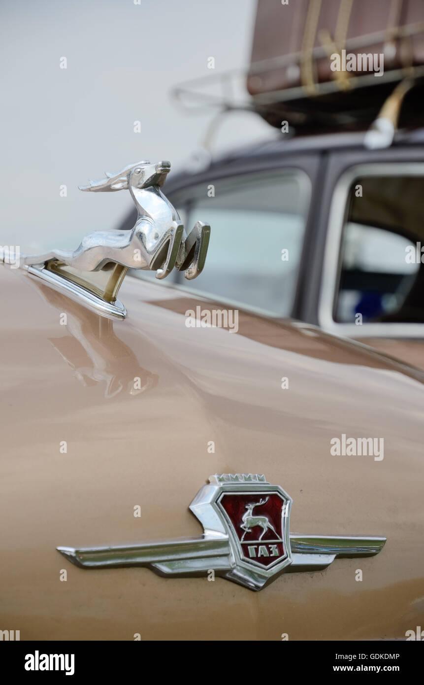Rare hood ornaments - Deer Like Hood Ornament Of The Vintage Car Gaz Stock Image