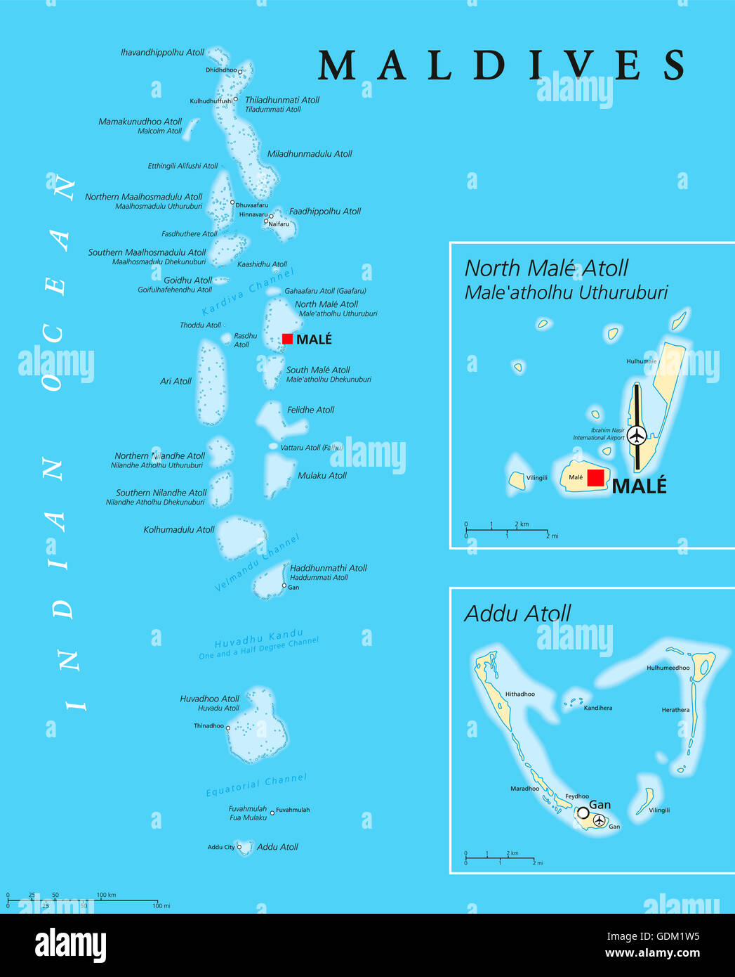 Maldives Political Map With Capital Male On Kings Island And Stock - male map