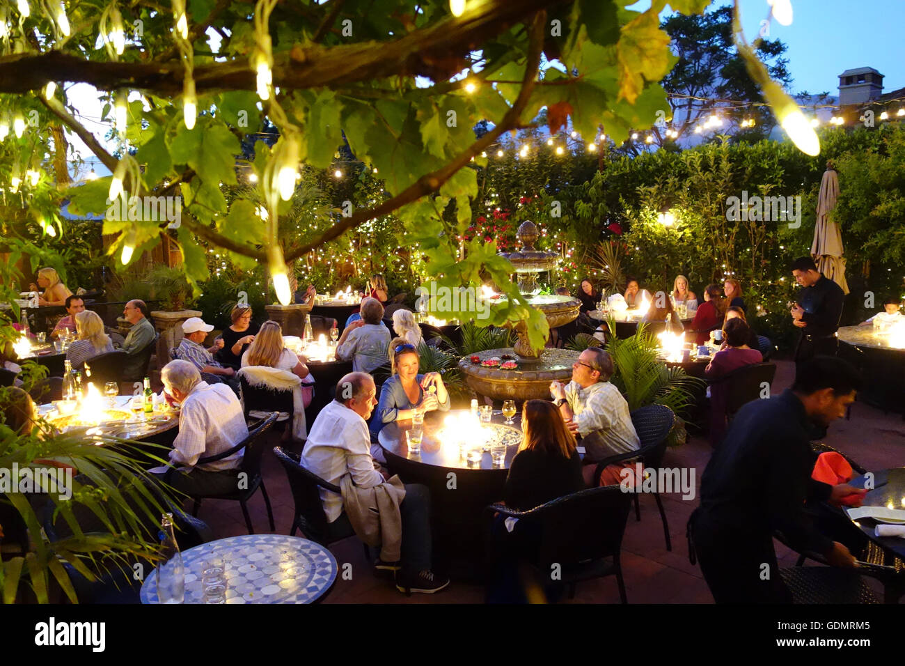 Outdoor Patio Garden Of Zaytoon Middle Eastern Restaurant In Santa Barbara  On Central Coast Of Southern