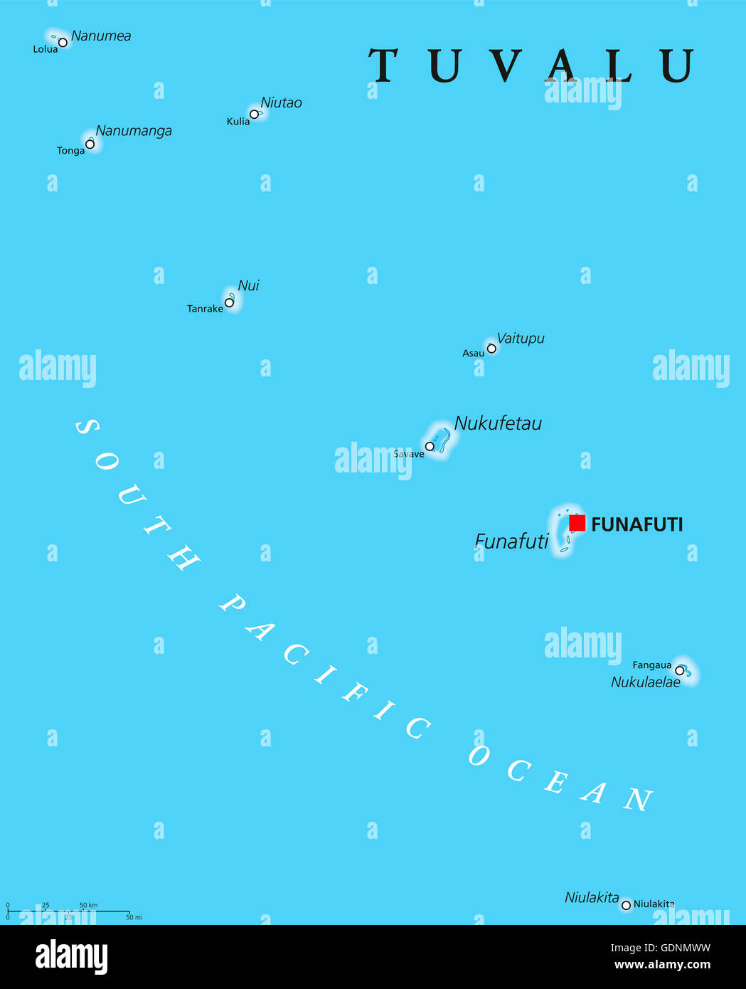 Tuvalu Political Map With Capital Funafuti And Important Villages - Tuvalu map