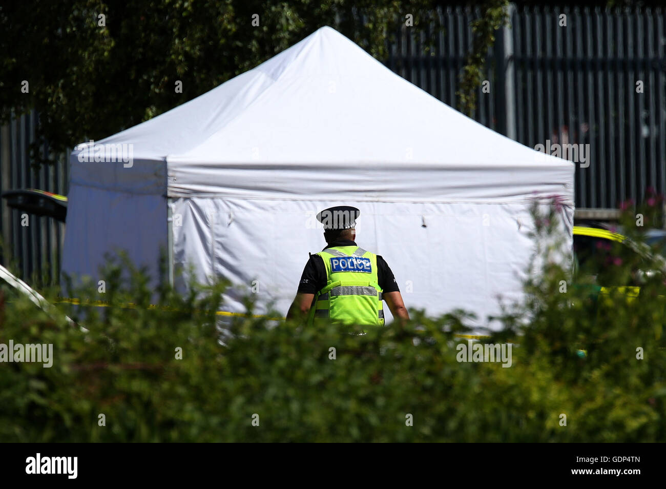 A police officer at the scene near Castle Swimming Pool in Spalding Lincolnshire after & A police officer at the scene near Castle Swimming Pool in ...