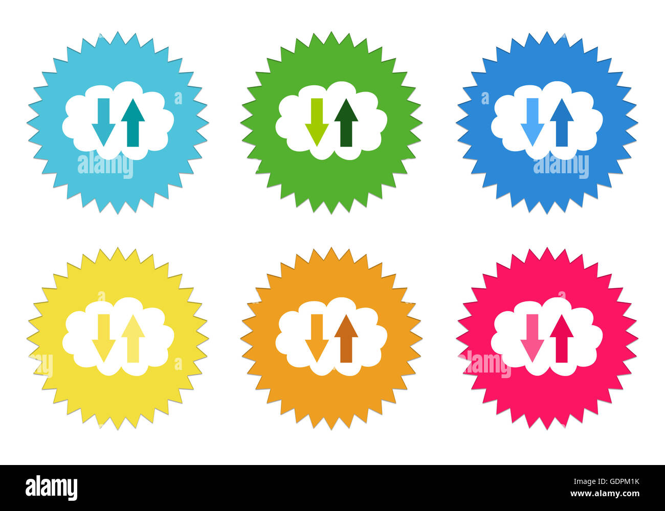 Set of colorful stickers icons with cloud symbol in blue green set of colorful stickers icons with cloud symbol in blue green yellow red and orange colors biocorpaavc Gallery