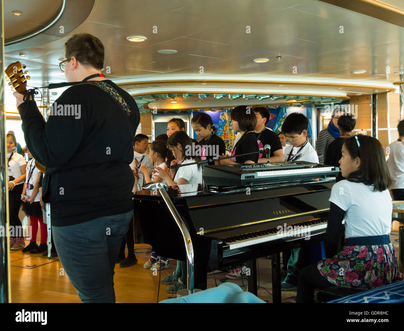 Sisimuit Greenland Local Inuit Children With Teacher Playing - Cruise ship songs