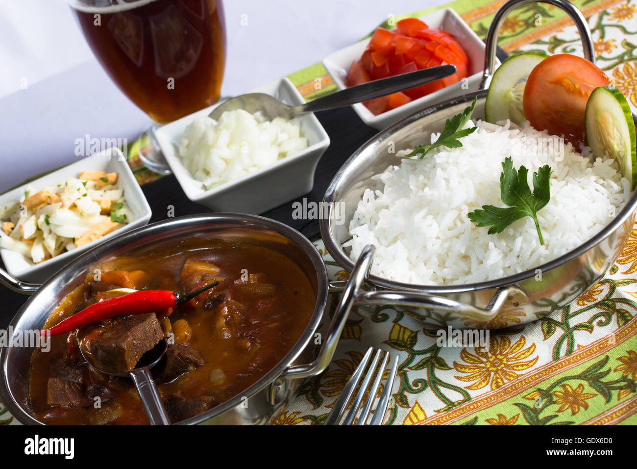 A Malaysian Indonesian Meal Of Beef Rendang Curry Rendang Daging Served With Steamed Rice And Condiments