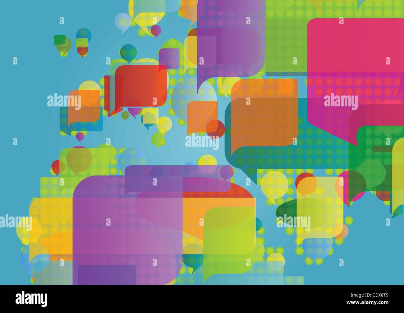 Europe north africa and middle east map made of colorful speech