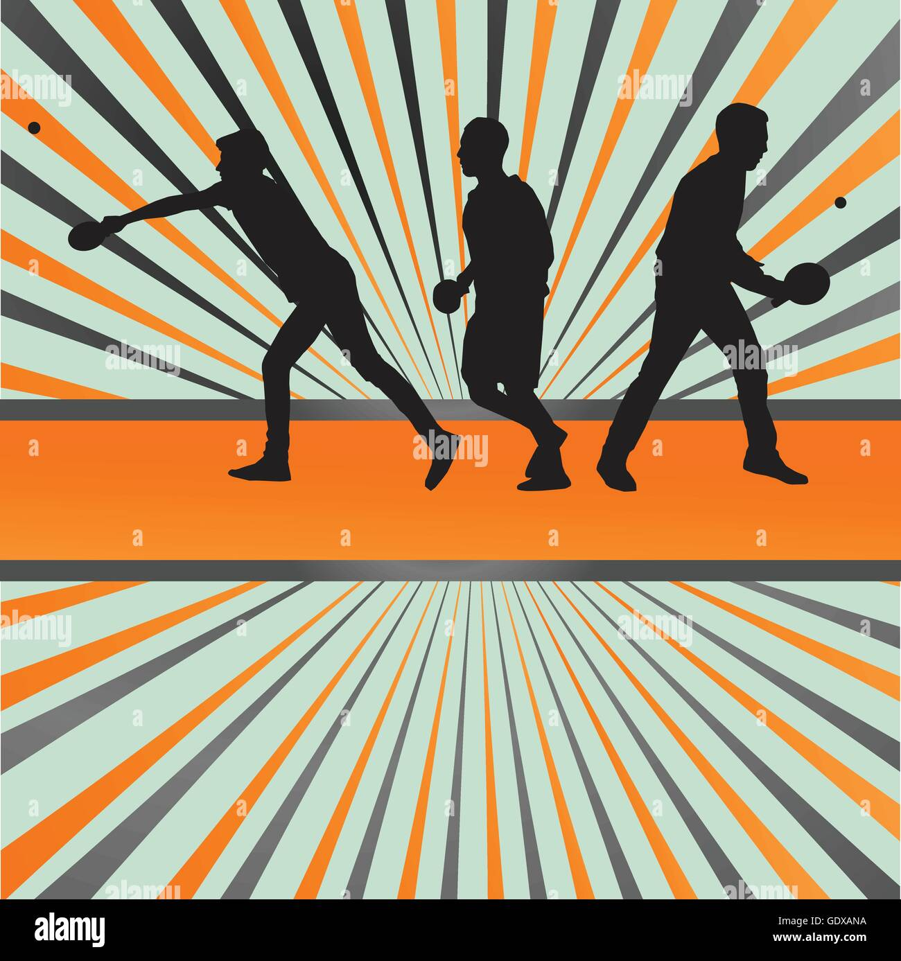 Table Tennis Player Silhouette Ping Pong Vector Burst