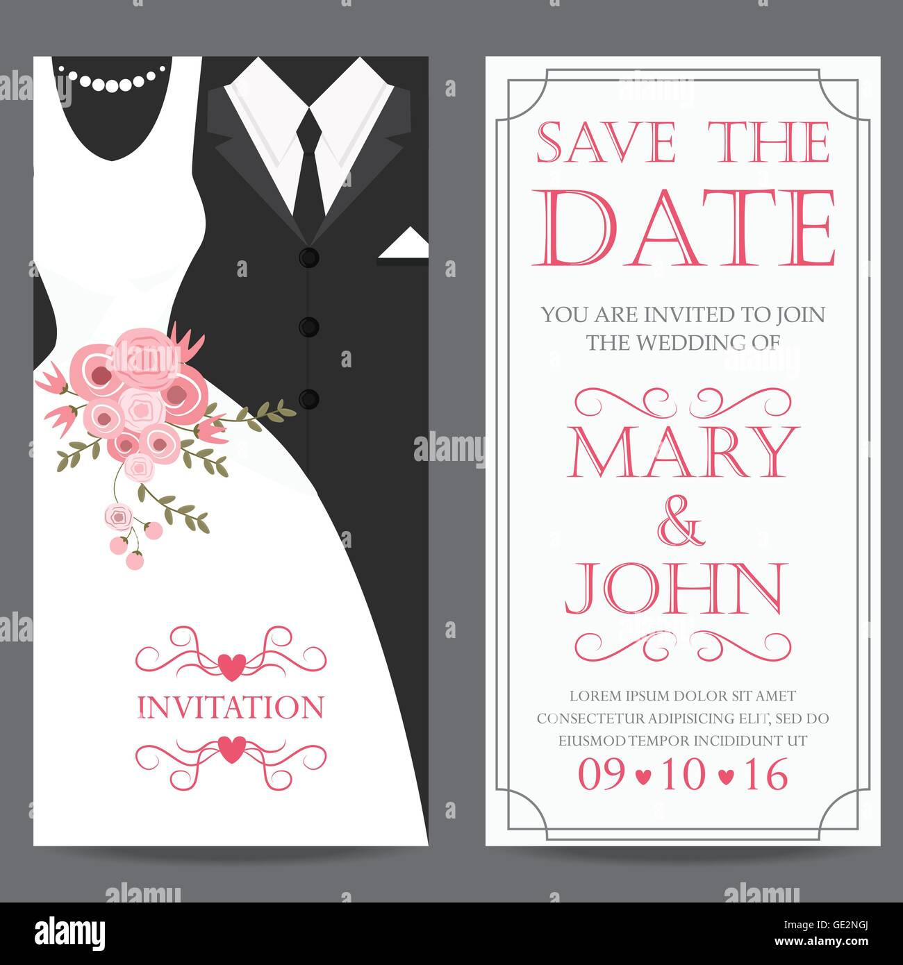 wedding invitation card, bride and groom dress concept. love and ...