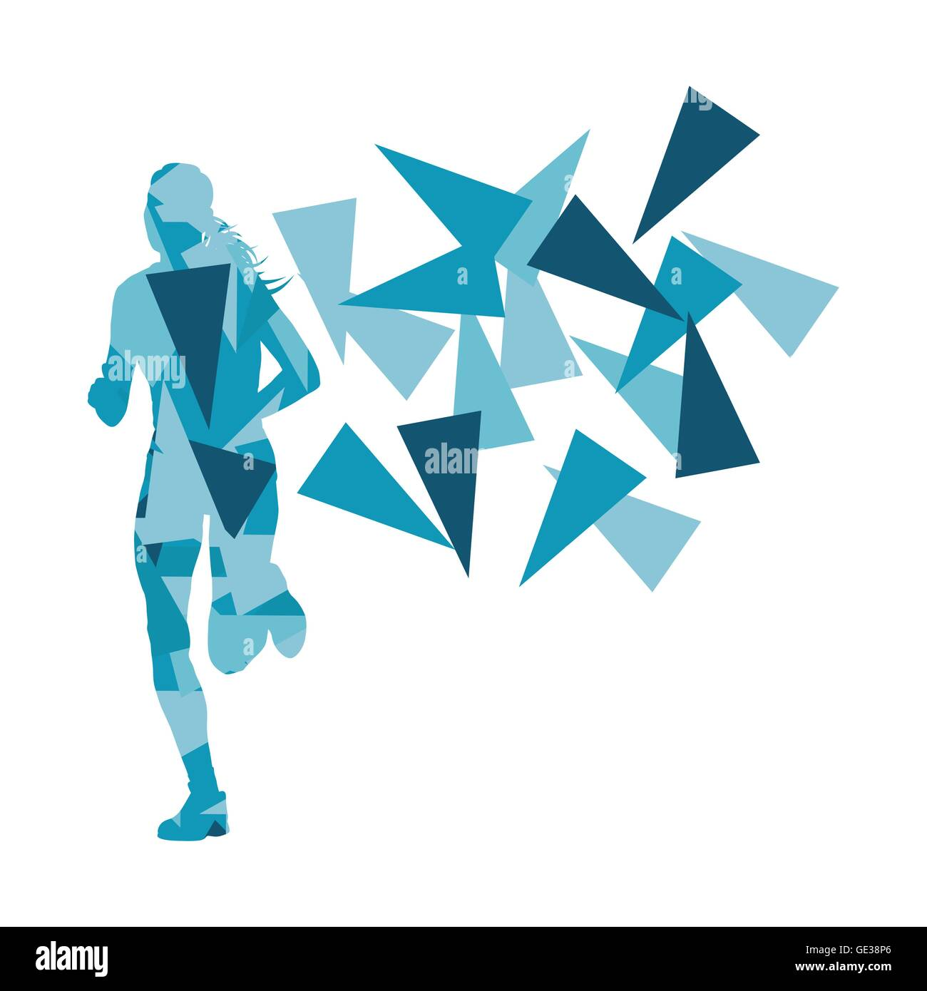 marathon runner abstract vector background concept made of