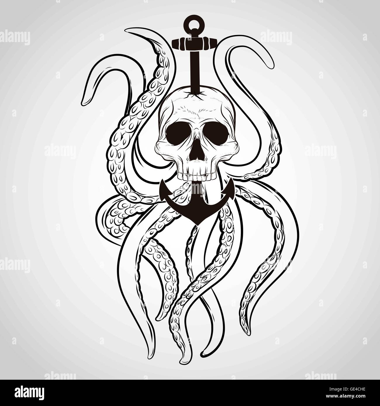 Shirt design octopus - Stock Vector T Shirt Design Skull With Octopus And Anchor In A Tattoo Style
