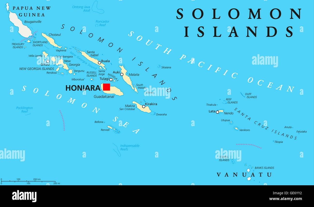 Solomon Islands Political Map With Capital Honiara On Guadalcanal - Solomon islands map