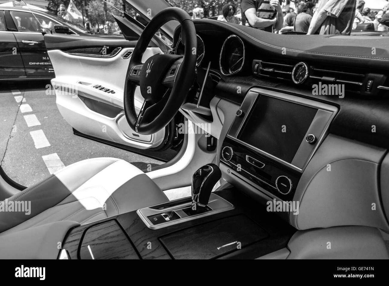 interior of full size luxury car maserati quattroporte vi since stock photo royalty free image. Black Bedroom Furniture Sets. Home Design Ideas