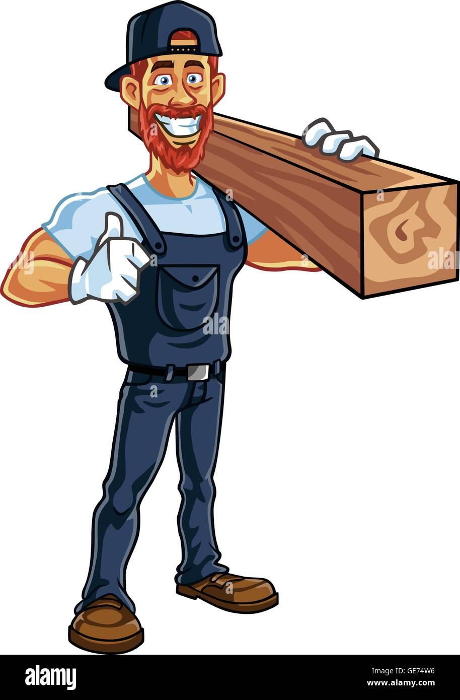 carpenter cartoon mascot vector illustration stock vector art