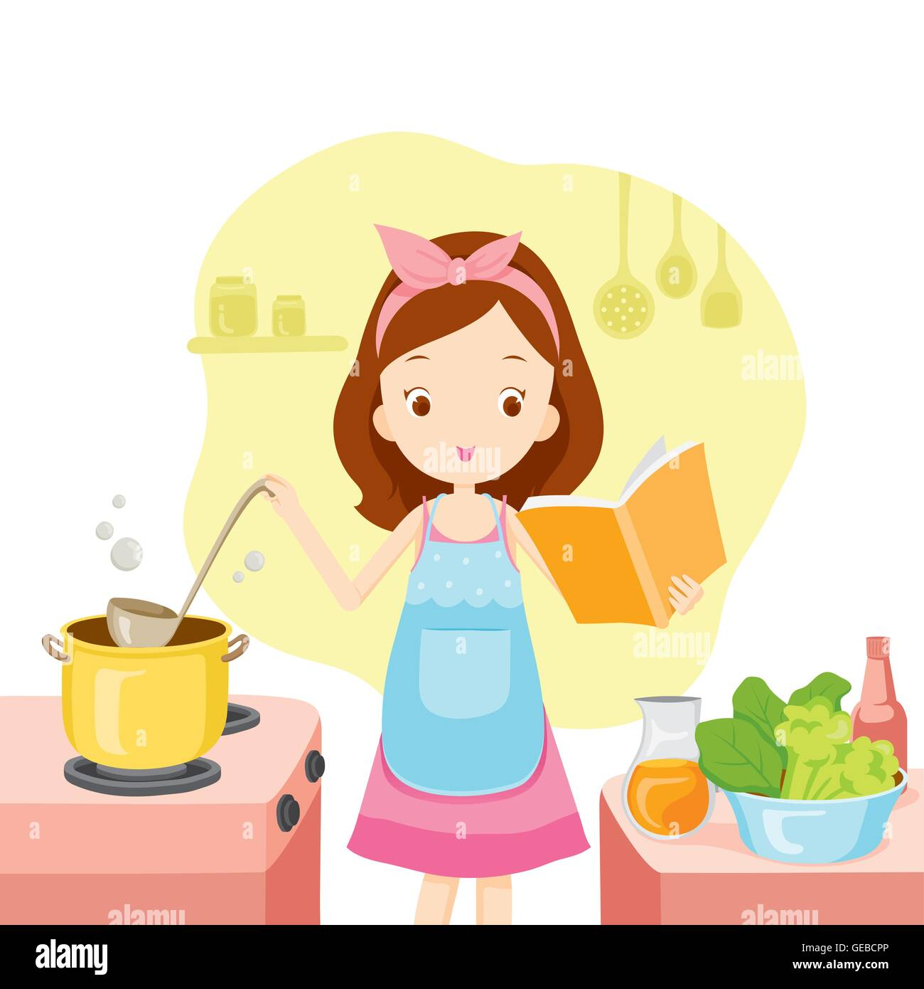 Selection of cartoons on cooking kitchens food and eating - Girl Cooking Soup With Cookbook Kitchen Kitchenware Crockery Cooking Food Bakery Occupation Lifestyle